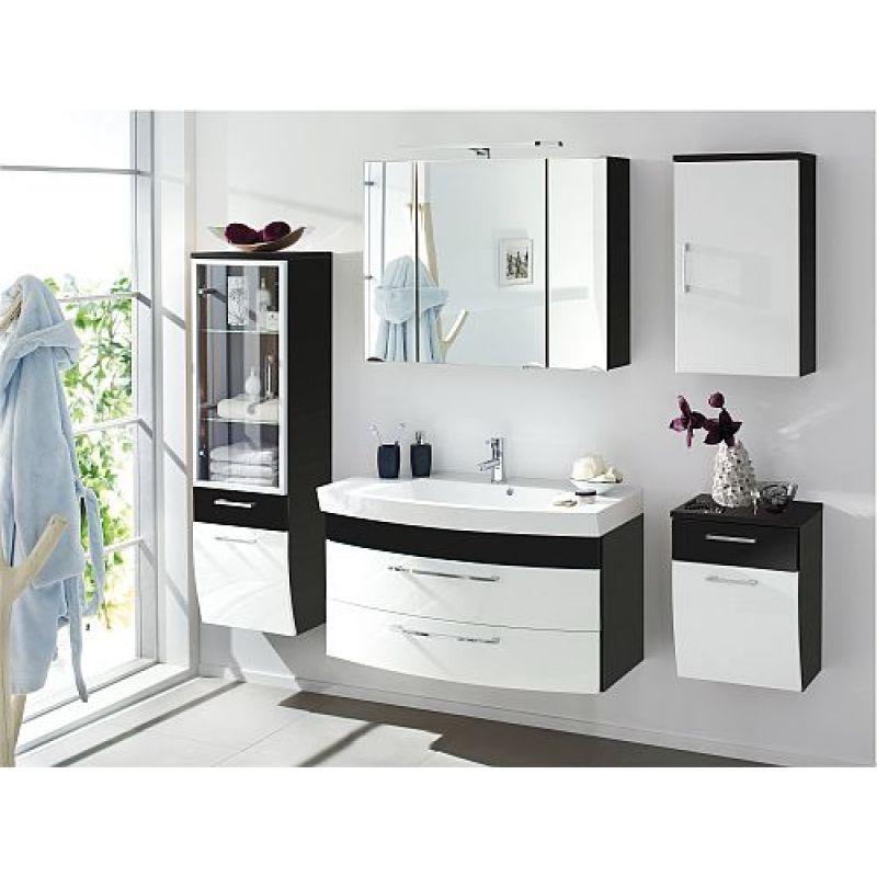Badmöbel Badezimmer Rima 1, Komplett, 5 Teilig, Anthrazit   Weiß Hochglanz  MDF Fronten