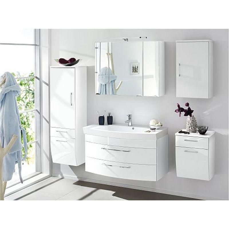 Schön Badmöbel Badezimmer Rima 5 Teilig, Komplett, Weiß Hochglanz MDF Fronten
