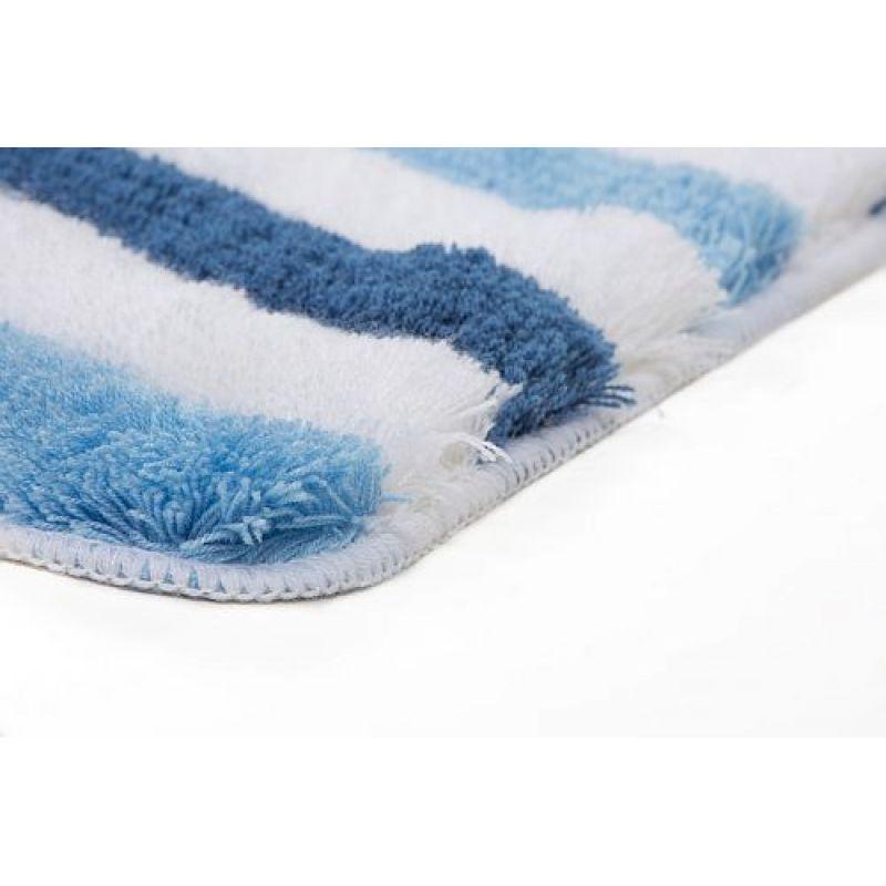 badteppich teppich my illawarra 4040 hochflor blau wei 49 9. Black Bedroom Furniture Sets. Home Design Ideas