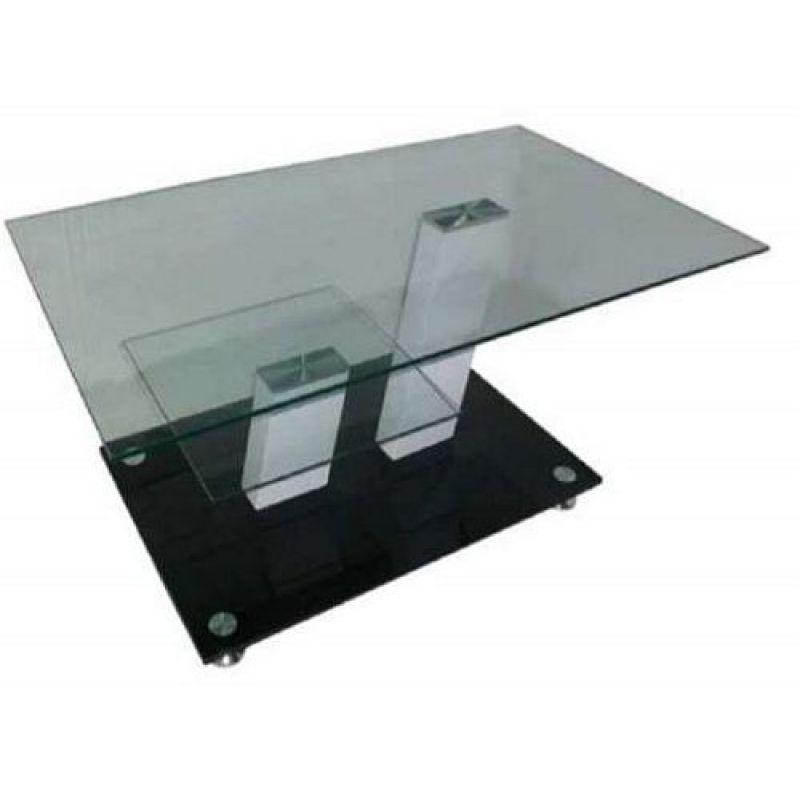 Couchtisch Beistelltisch Tisch 32697 Montreal Aus Glas Schwarz Wei S