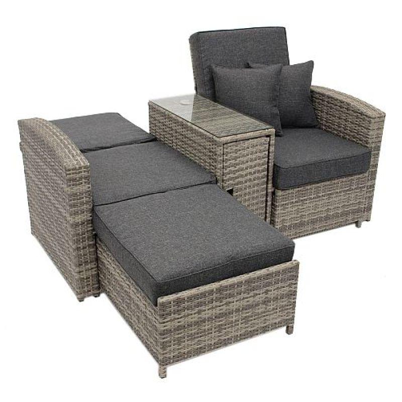 doppelliege funktionssofa mit mitteltisch polyrattan. Black Bedroom Furniture Sets. Home Design Ideas