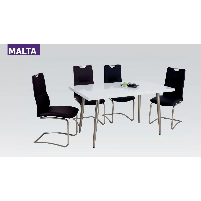 esstisch malta matt weiss 140 x 80 cm gestell edelstahllook 155 00. Black Bedroom Furniture Sets. Home Design Ideas