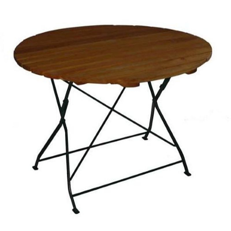 klapptisch holztisch gartentisch tisch rund gestell dunkel gr. Black Bedroom Furniture Sets. Home Design Ideas