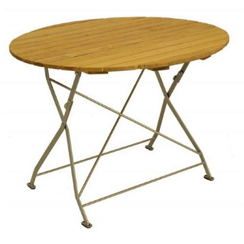 klapptisch holztisch gartentisch tisch rund gestell verzinkt 100cm. Black Bedroom Furniture Sets. Home Design Ideas