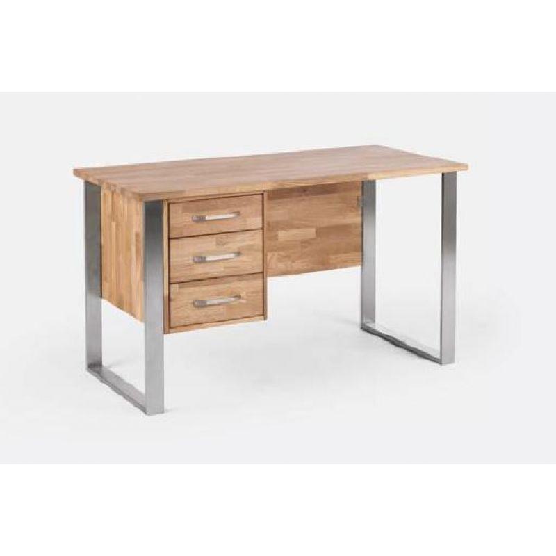 Massivholz schreibtisch arbeitstisch 130x65 cm mit for Schreibtisch 130 cm