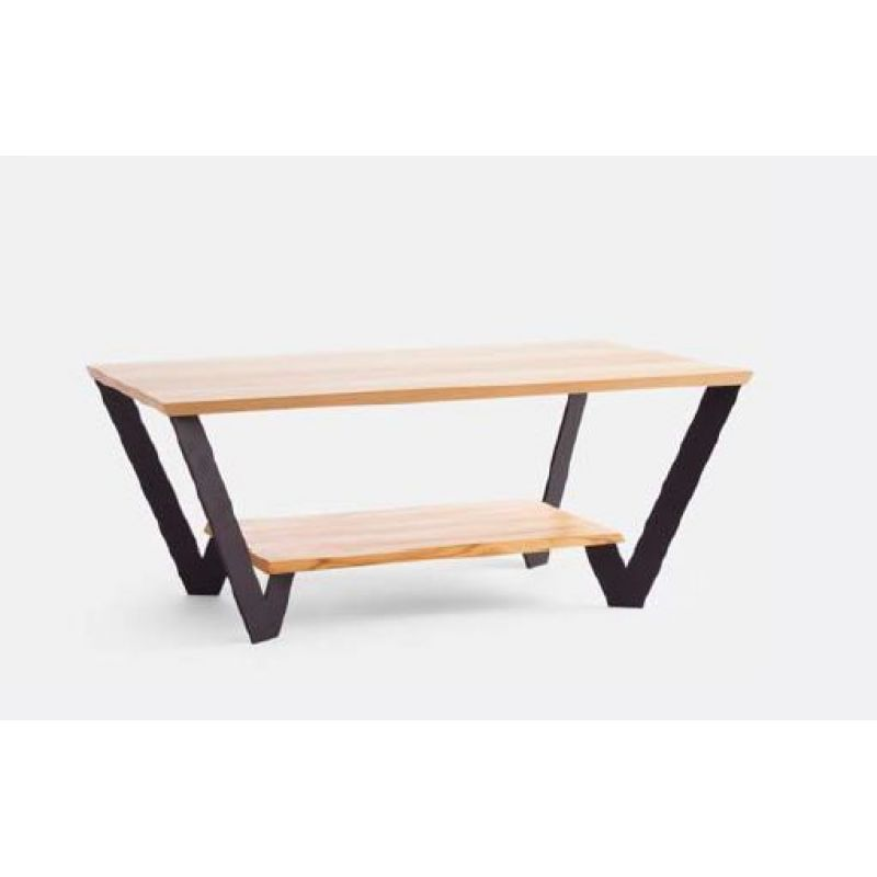 moderner massivholz couchtisch ct 044b mit ablageboden und metallf uu. Black Bedroom Furniture Sets. Home Design Ideas