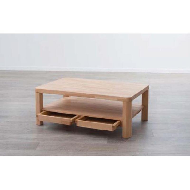 moderner massivholz couchtisch ct50s mit ablageboden und schubladen. Black Bedroom Furniture Sets. Home Design Ideas