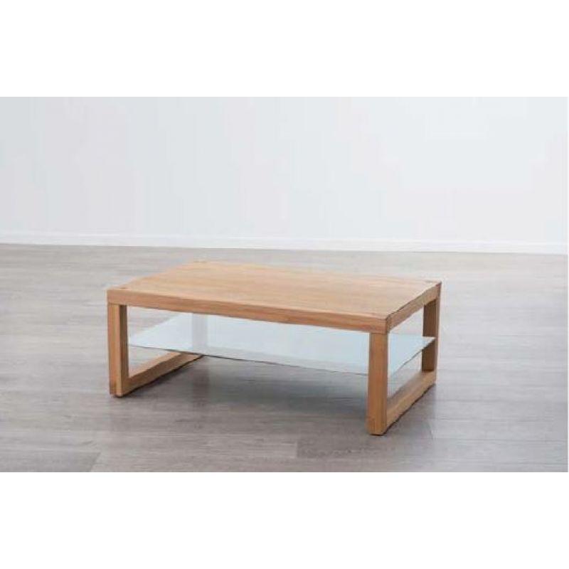 moderner massivholz couchtisch ct813 mit glasablageboden und rollen. Black Bedroom Furniture Sets. Home Design Ideas
