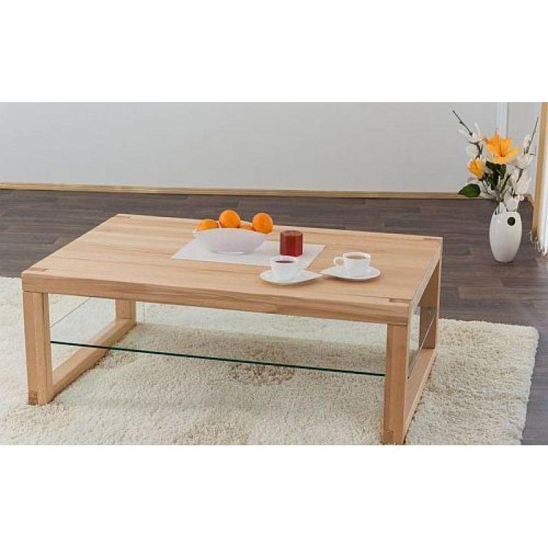 Moderner Massivholz Couchtisch System 080 Mit Ablage Holz Glas 369