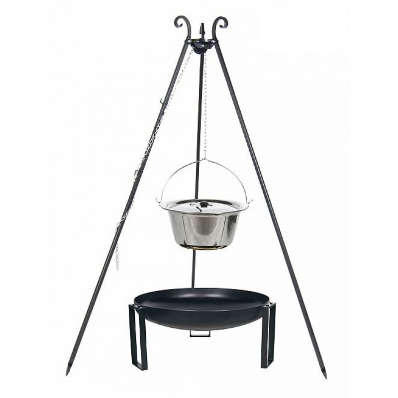 outdoor grill mit feuerschale pan 36 dreibein kessel edelstahl vers. Black Bedroom Furniture Sets. Home Design Ideas