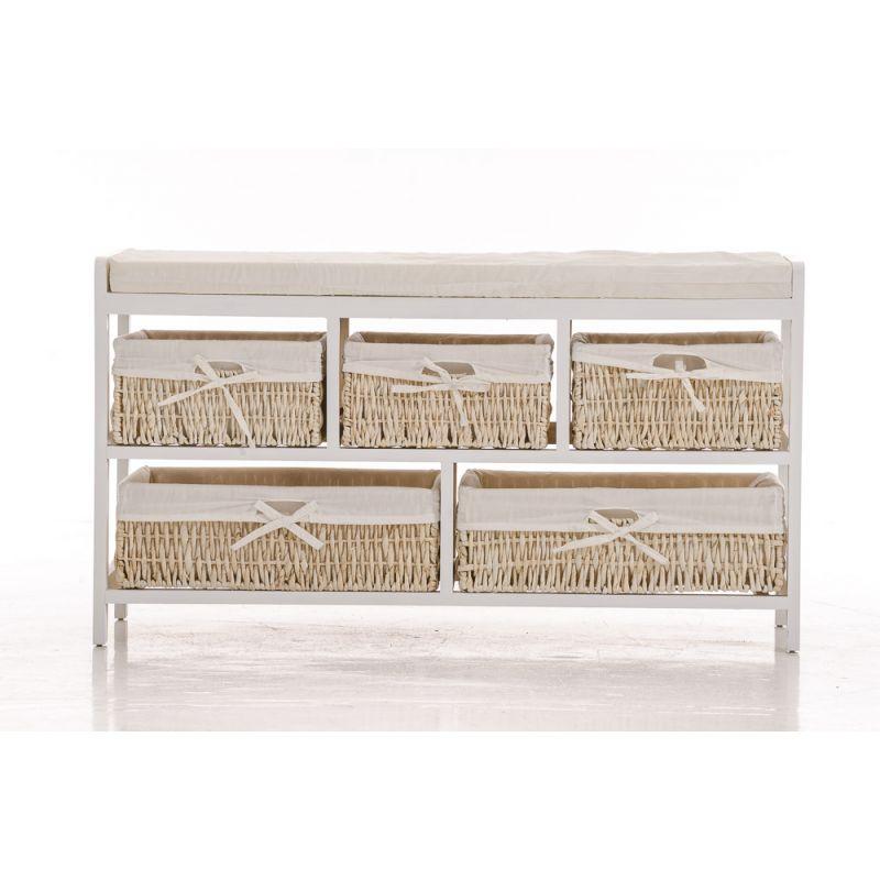 sitzbank u kommode dennis wei mit k rben und kissen im. Black Bedroom Furniture Sets. Home Design Ideas