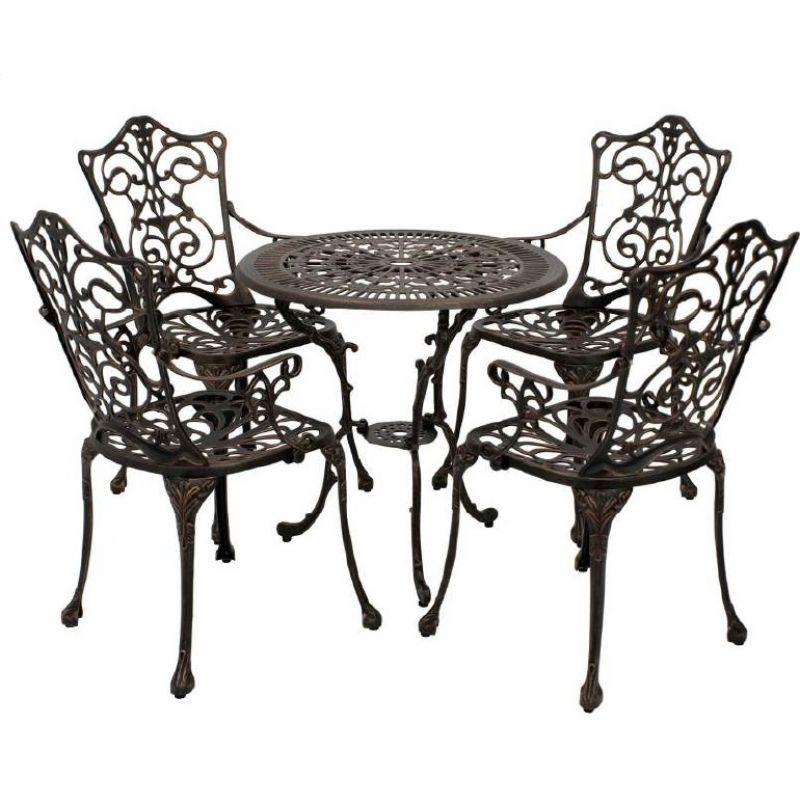 Sitzgruppe Gartenset 5-teilig Jugendstil, Aluguss bronze-antik, 345,0