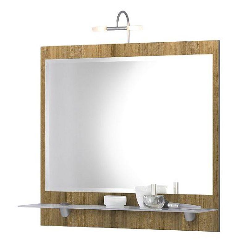 spiegel wandspiegel mit milchglas ablageboden und. Black Bedroom Furniture Sets. Home Design Ideas