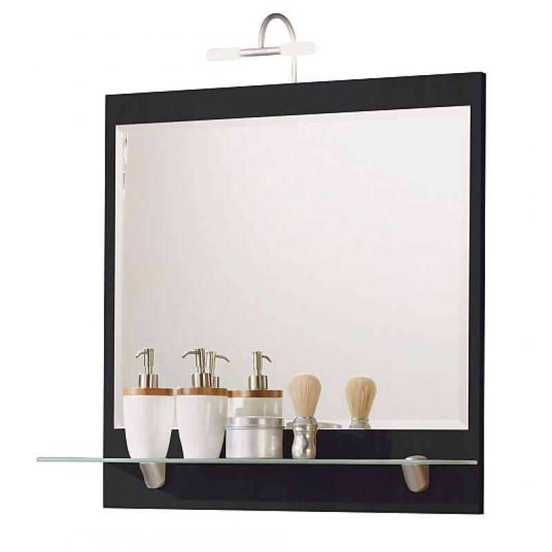 spiegel wandspiegel mit milchglas ablageboden und halogenlampe badez. Black Bedroom Furniture Sets. Home Design Ideas