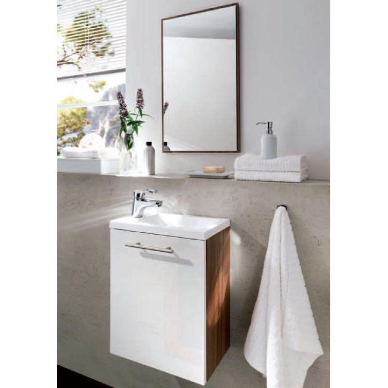 Waschplatz Badezimmer Gästebad Alexo komplett MDF Hochglanz Fron
