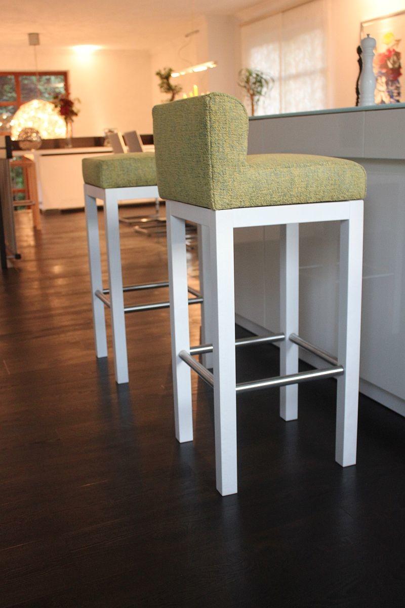 Toms Trendmoebel Design Barhocker Tom Mit Lehne Echt Holz Weiss Landh 205 00