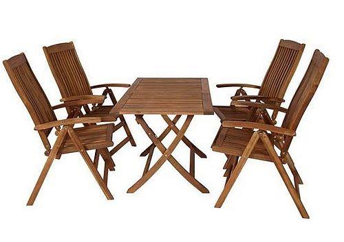 Klappgarnitur Sitzgruppe Gartengarnitur Tisch Stuhl 5 Teilig Akazie