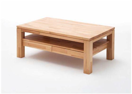Massivholz Couchtisch Cs061 Mit 2 Schubladen U Ablageboden