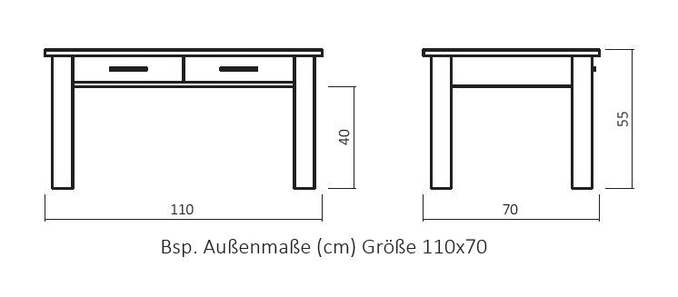 Massivholz Couchtisch Cs060 Mit 2 Schubladen Und Ablageboden