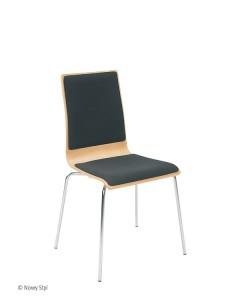 Bistrostuhl Besucherstuhl Cafe VII Plus Chrom mit Sitz und Rückenpolser Sitzschale laminiert
