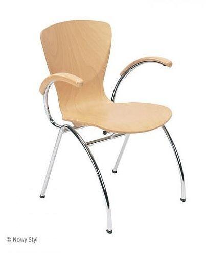 Bistrostuhl Besucherstuhl Objektstuhl Bingo ARM CR 4 Bein Stuhl verchromt Armlehne mit Holzauflage