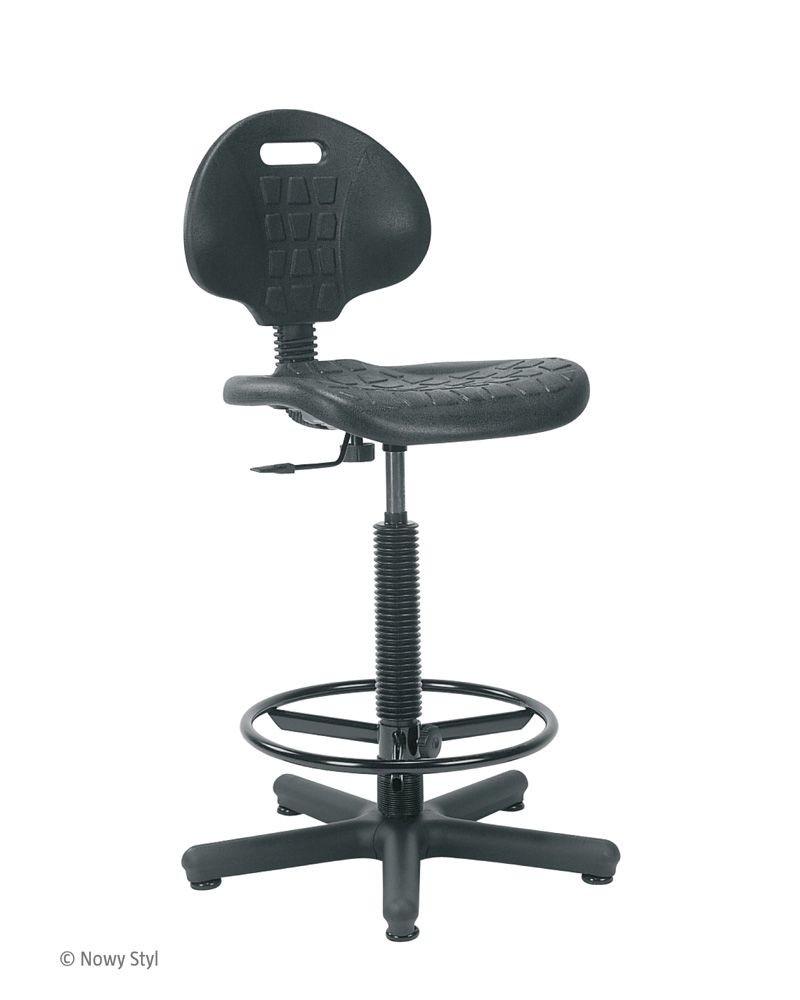 Arbeitsstuhl Werkstuhl Stuhl Nargo + Ringbase mit Fußring höhenverstellbar