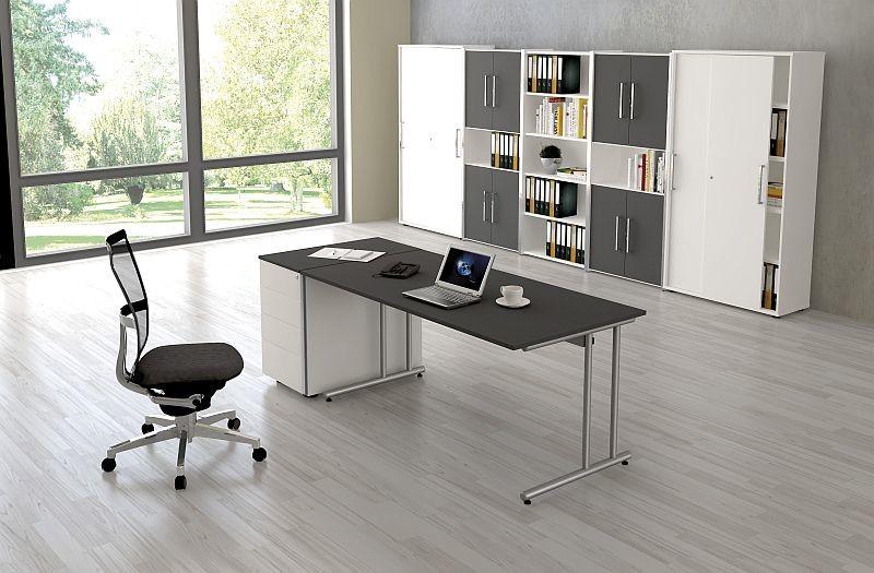 Kerkmann Schreibtisch Start Up 180x80x75 Cm C Fuß Gestell Alusilber