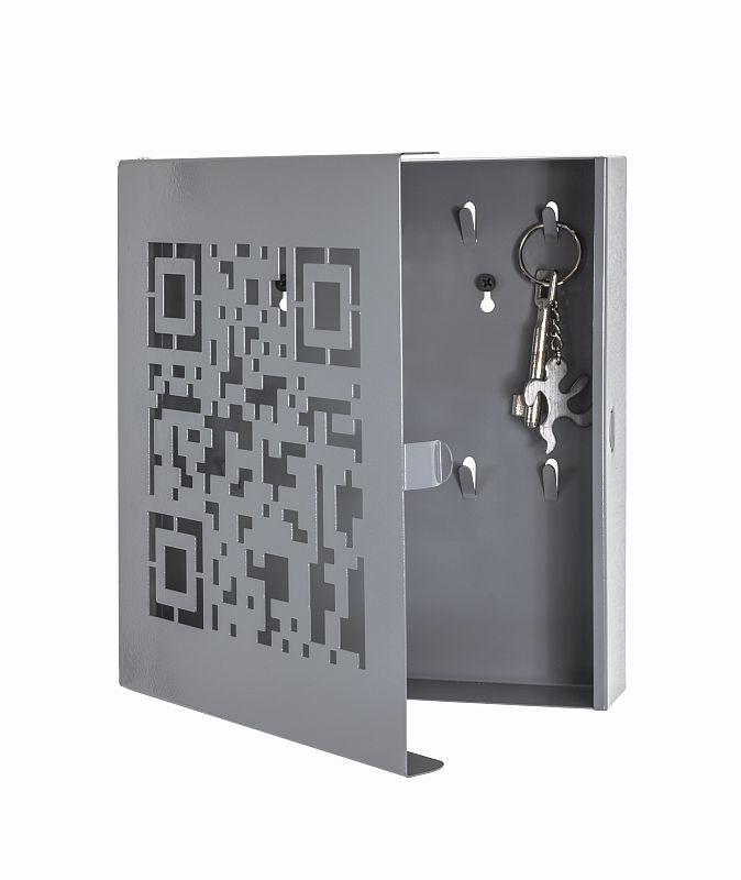 schl sselkasten qr code 10 haken metall grau 24 60. Black Bedroom Furniture Sets. Home Design Ideas