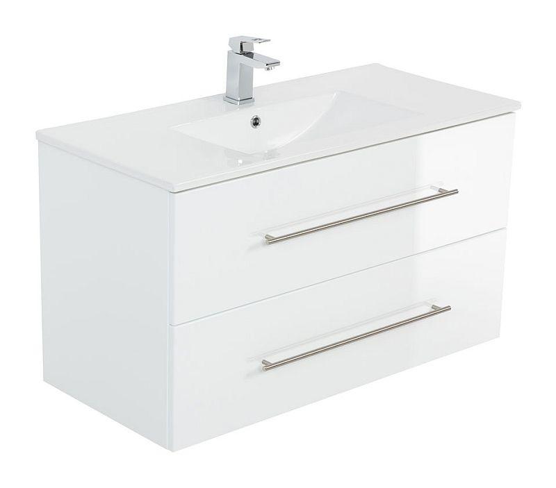 Badmöbel Waschplatz Waschbecken Homeline 90cm Mit Unterschrank Weiß Hochglanz