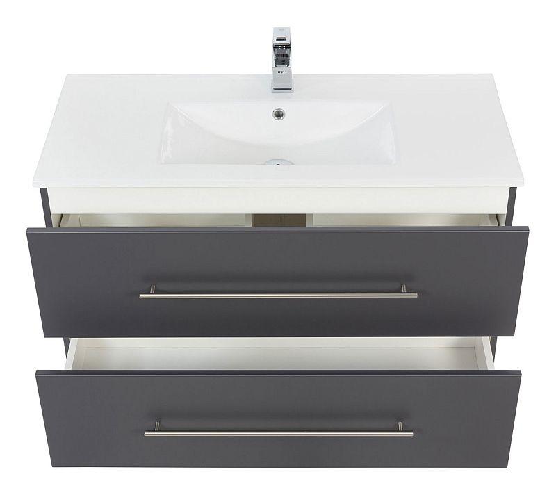 badm bel waschplatz waschbecken homeline 100cm mit unterschrank anthr 299 90. Black Bedroom Furniture Sets. Home Design Ideas