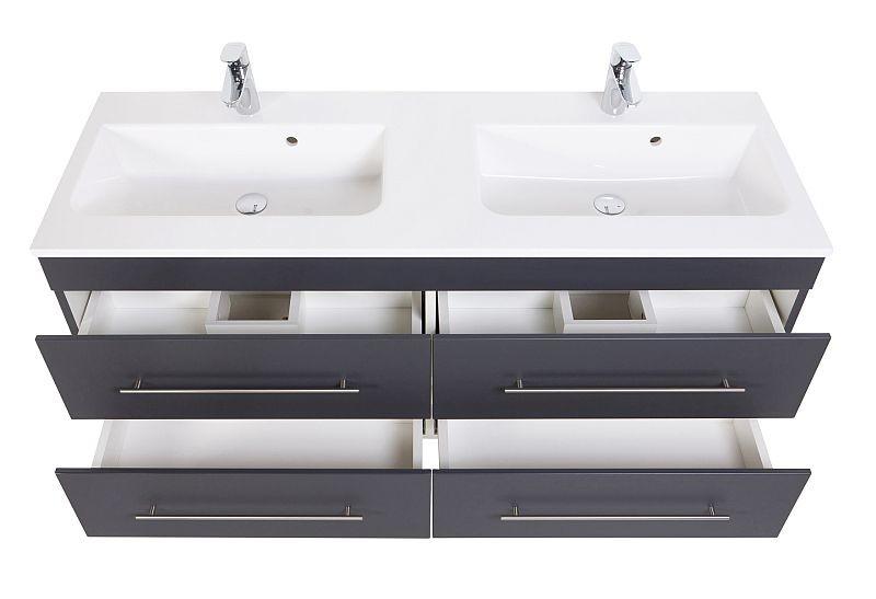 Badmöbel Waschplatz Doppel Waschbecken HOMELINE 20cm mit Unterschrank  anthrazit seidenglanz