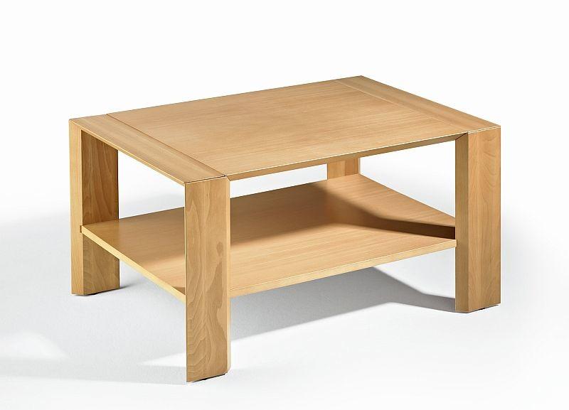 Massivholz Couchtisch Eiche Furniert Mit Ablageboden 85x60x46cm 499