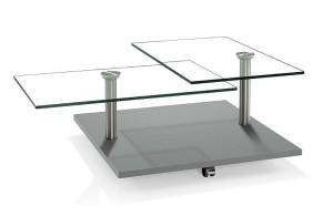 Moderner Couchtisch Holzedelstahlklarglas Mit Rollen Tischplatte