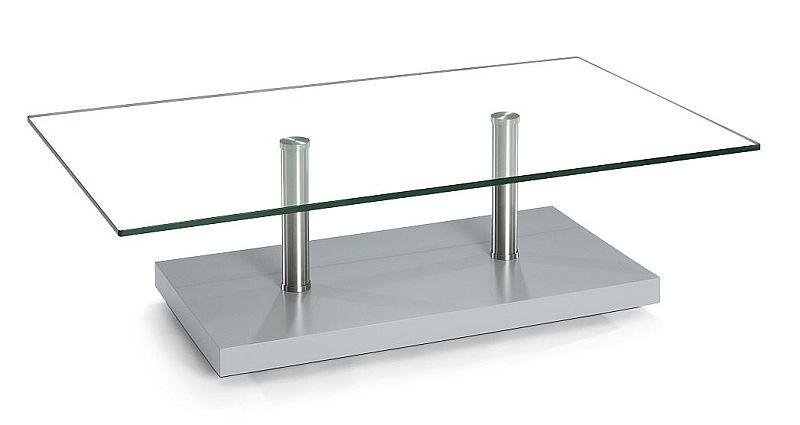 Moderner Couchtisch Holzedelstahlklarglas Mit Rollen 110x70x40cm