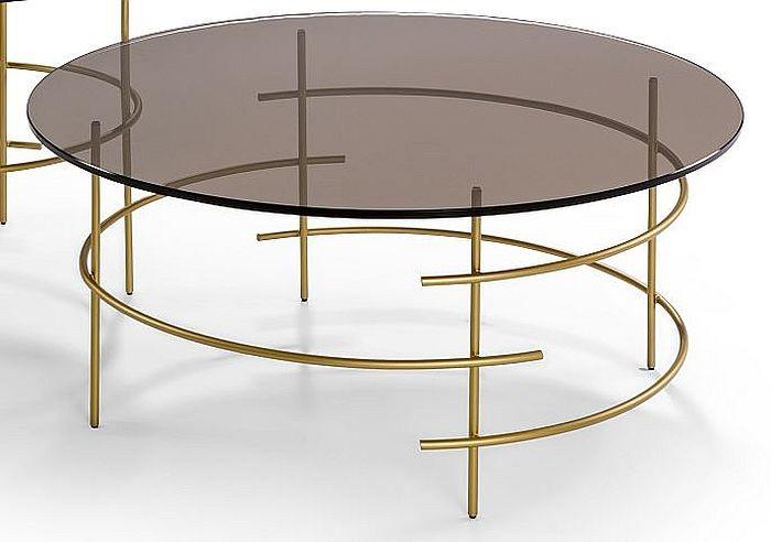Moderner Couchtisch Metall Gold Bronzeglas Tischplatte Rund D 80cm