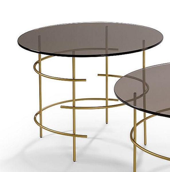 Moderner Couchtisch Beistelltisch Metall Goldbronzeglas Tischplatte