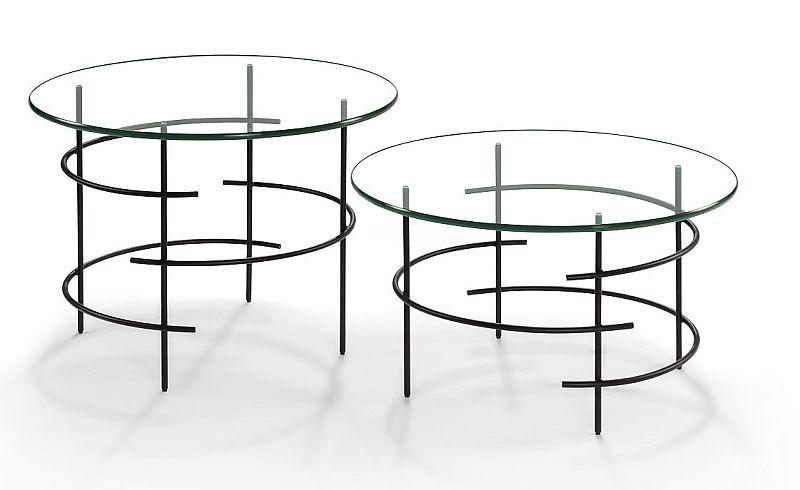Moderner Couchtisch Beistelltisch Metall schwarz/Klarglas