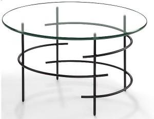 Moderner Couchtisch Beistelltisch Metall Schwarz Klarglas