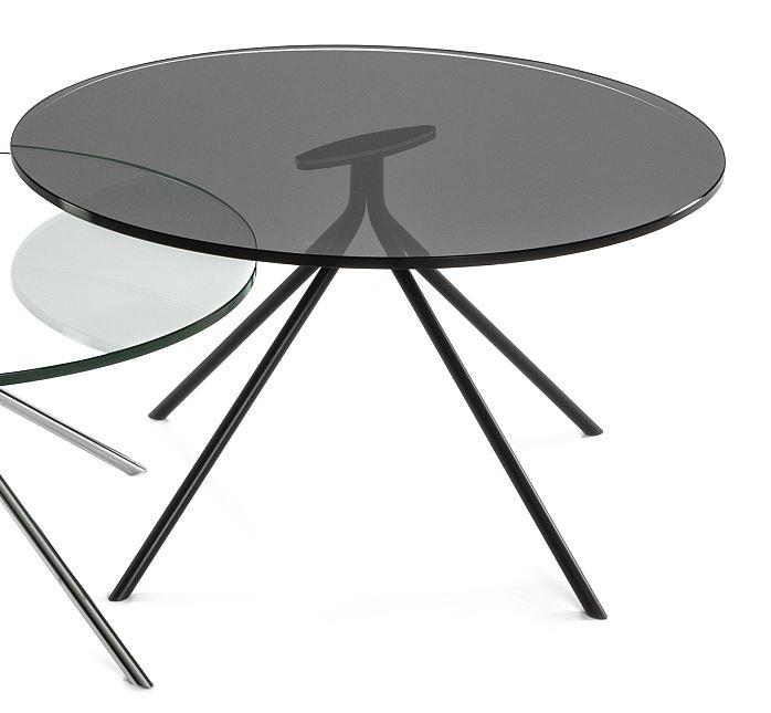 Moderner Couchtisch Metall Schwarz Rauchglas Tischplatte Rund D 70cm