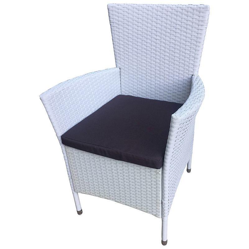gartensessel polyrattan wei mit polster 2er set 99 00. Black Bedroom Furniture Sets. Home Design Ideas