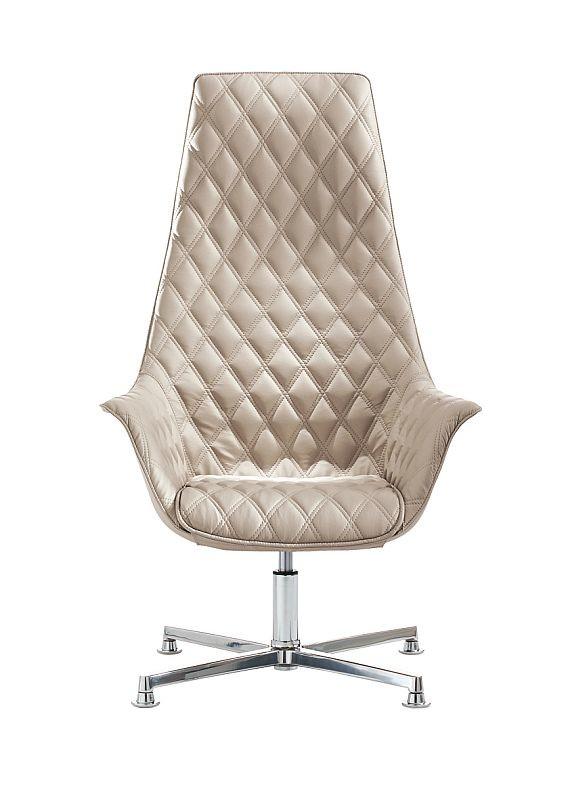 Design Lounger Kimera 4 Fußkreuz hoher Rücken mit rautenförmigem Bezug