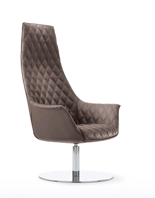 Design Lounger Kimera mit Bodenteller hoher Rücken mit rautenförmigem Bezug