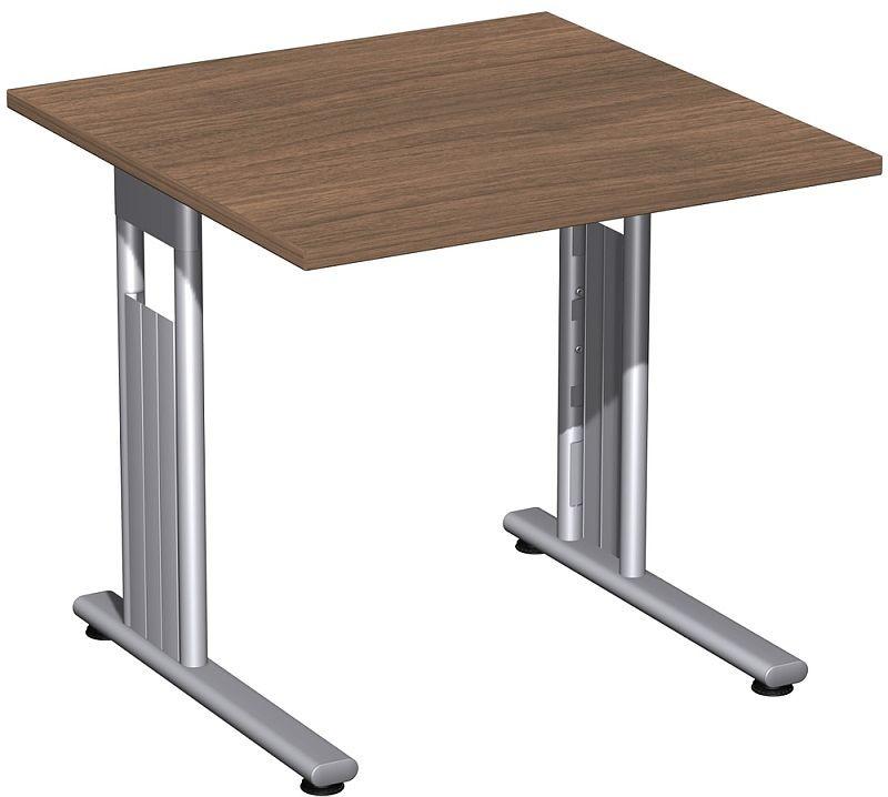 Gera Schreibtisch Bürotisch C Fuß Flex 800x800x720mm Onyx Nussbaum
