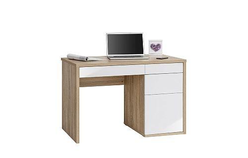 Schreibtisch Computertisch 4059 Sonoma Eiche Weiß Hochglanz 110 X 775 X 60 Cm