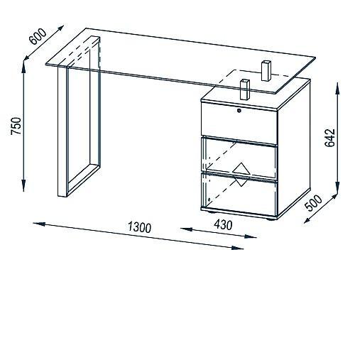 Schreibtisch Computertisch 9550 Metall Chrom Weiss Hochglanz 130 X