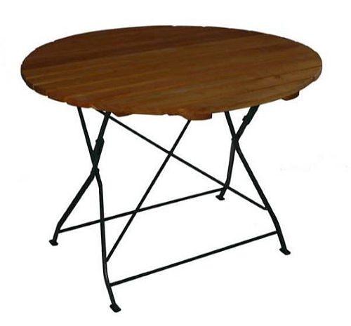 klapptisch holztisch gartentisch tisch rund gestell dunkel gr n 100 159 90. Black Bedroom Furniture Sets. Home Design Ideas