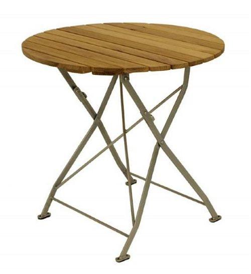 Klapptisch Holztisch Gartentisch Tisch Rund Gestell Verzinkt 70cm