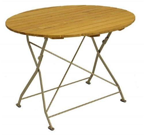 Klapptisch Holztisch Gartentisch Tisch Rund Gestell Verzinkt 100cm