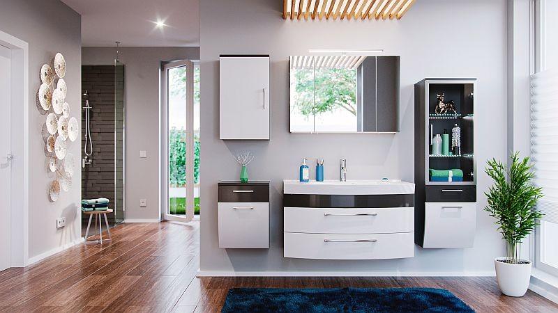 Badmöbel-Set Badezimmer Rima 9-teilig anthrazit-weiß